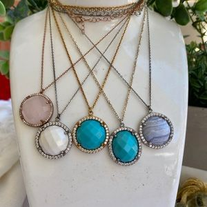 Jewelry - Sterling Silver Turquoise and Agate CZ Necklace